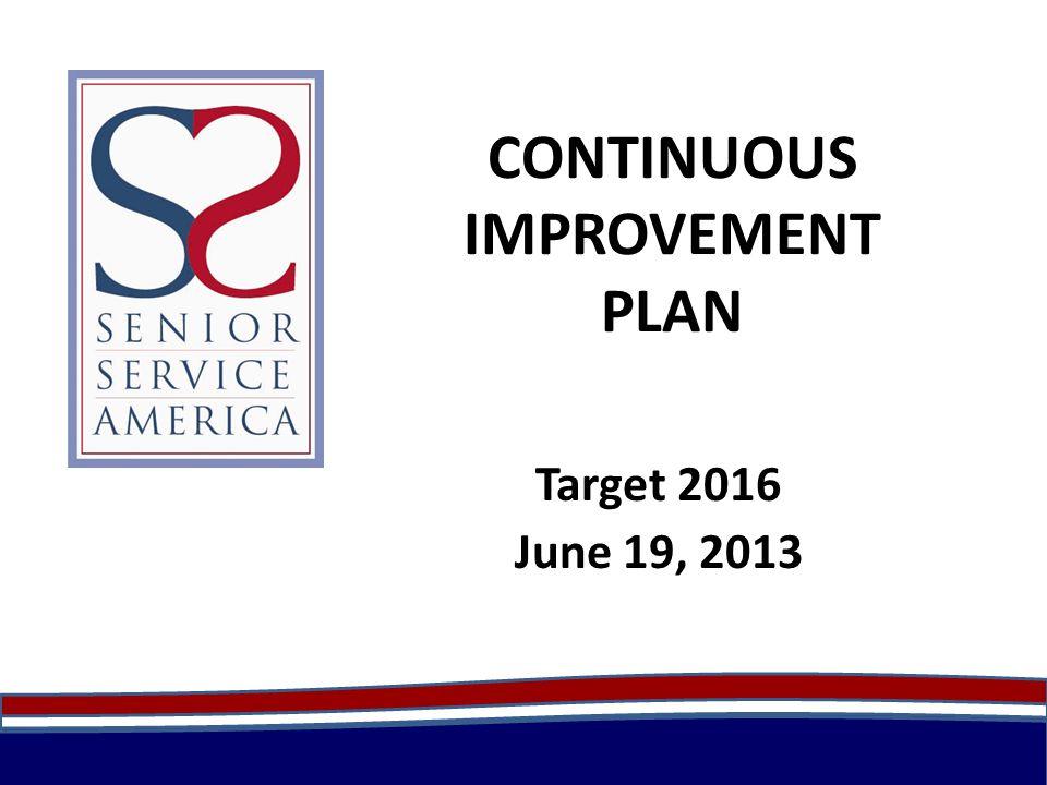 CONTINUOUS IMPROVEMENT PLAN Target 2016 June 19, 2013