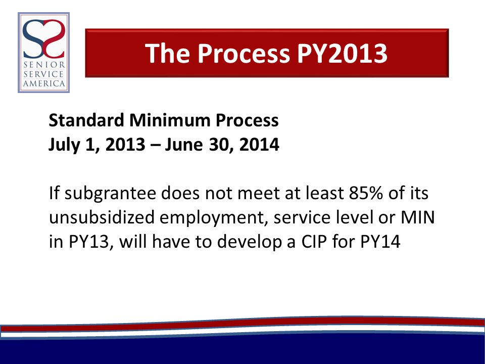 The Process PY2013 Standard Minimum Process July 1, 2013 – June 30, 2014 If subgrantee does not meet at least 85% of its unsubsidized employment, service level or MIN in PY13, will have to develop a CIP for PY14
