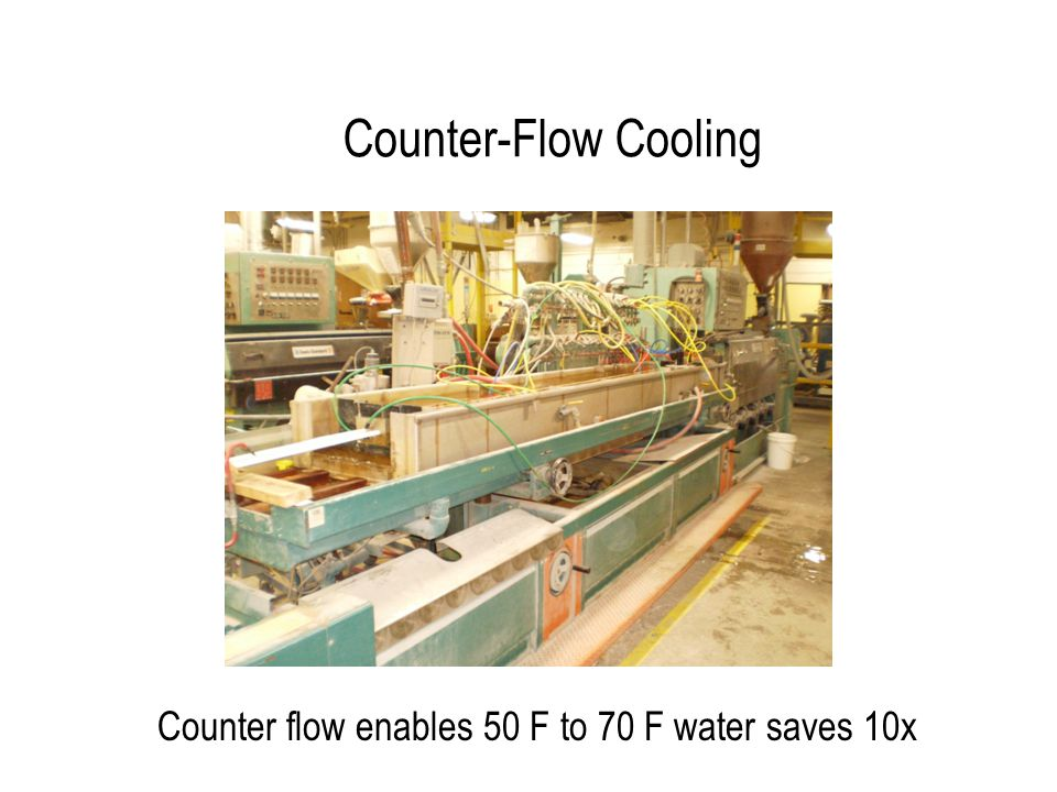 Counter-Flow Cooling Counter flow enables 50 F to 70 F water saves 10x