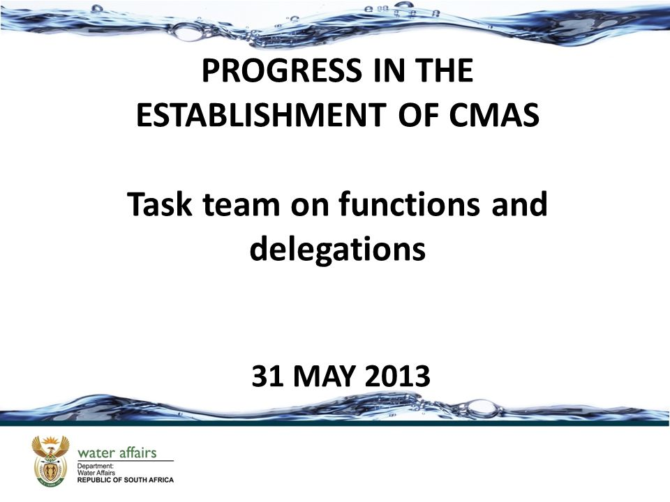 OBJECTIVE The objective of the task team is to advise the steering committee on which function will be delegated to the CMA - this exclude the inherent and the initial functions.