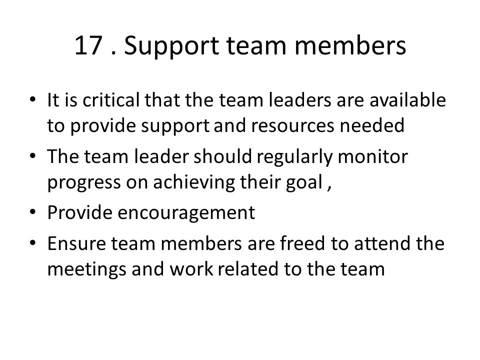 17. Support team members It is critical that the team leaders are available to provide support and resources needed The team leader should regularly m