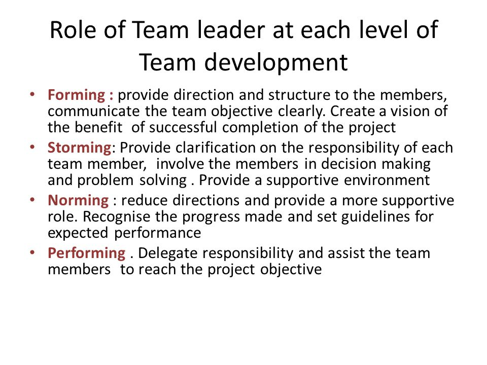 Role of Team leader at each level of Team development Forming : provide direction and structure to the members, communicate the team objective clearly.
