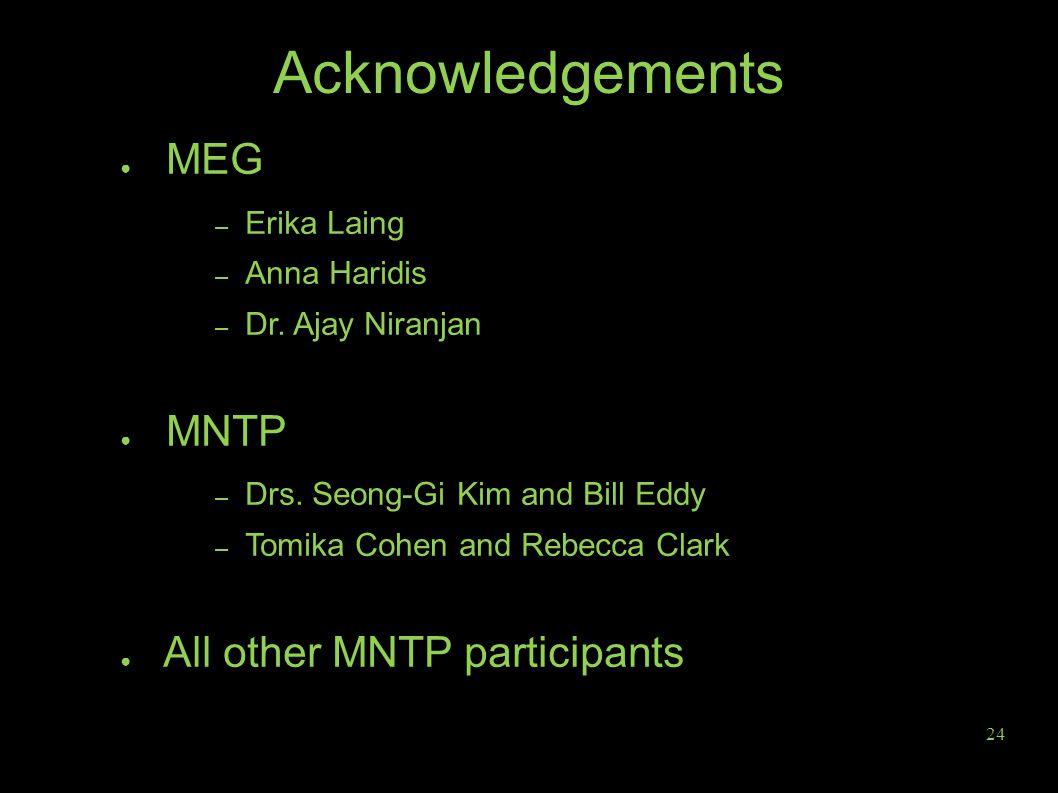 Acknowledgements ● MEG – Erika Laing – Anna Haridis – Dr.