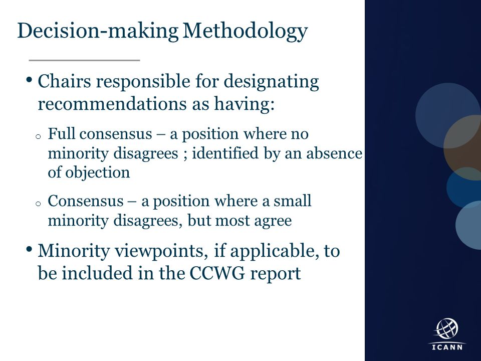 Text Decision-making Methodology Chairs responsible for designating recommendations as having: o Full consensus – a position where no minority disagre