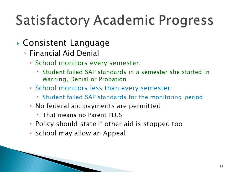  Consistent Language ◦ Financial Aid Denial  School monitors every semester:  Student failed SAP standards in a semester she started in Warning, Denial or Probation  School monitors less than every semester:  Student failed SAP standards for the monitoring period  No federal aid payments are permitted  That means no Parent PLUS  Policy should state if other aid is stopped too  School may allow an Appeal 14