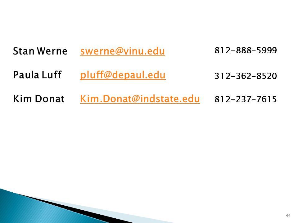 44 Stan Werne Paula Luff Kim Donat swerne@vinu.edu pluff@depaul.edu Kim.Donat@indstate.edu 812-888-5999 312-362-8520 812-237-7615