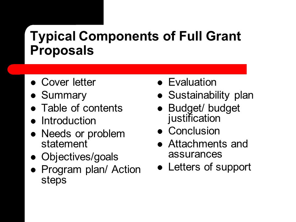 Typical Components of Full Grant Proposals Cover letter Summary Table of contents Introduction Needs or problem statement Objectives/goals Program pla