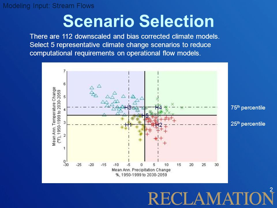 Scenario Selection 2 There are 112 downscaled and bias corrected climate models.