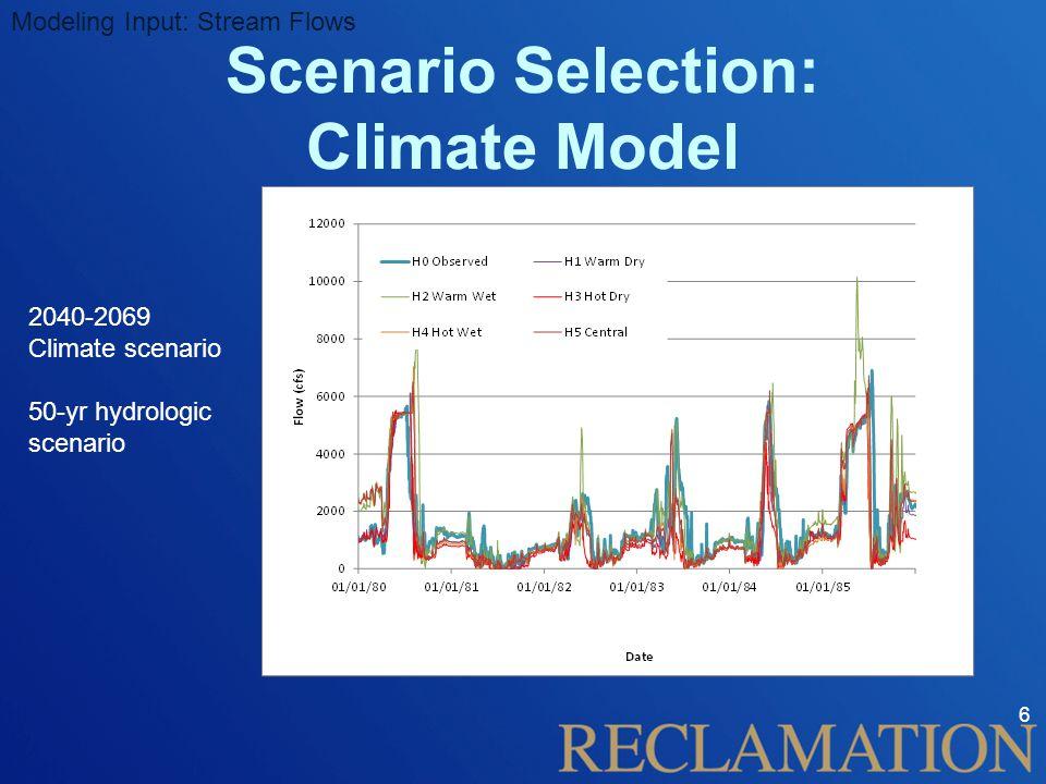 6 Modeling Input: Stream Flows Scenario Selection: Climate Model 2040-2069 Climate scenario 50-yr hydrologic scenario
