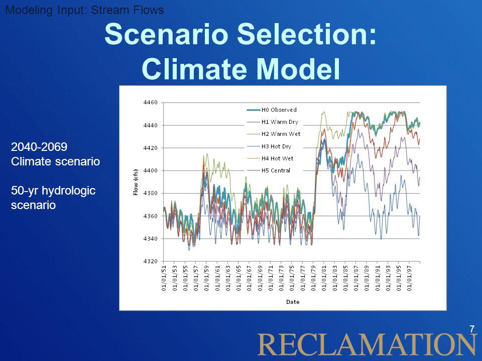 7 Modeling Input: Stream Flows Scenario Selection: Climate Model 2040-2069 Climate scenario 50-yr hydrologic scenario