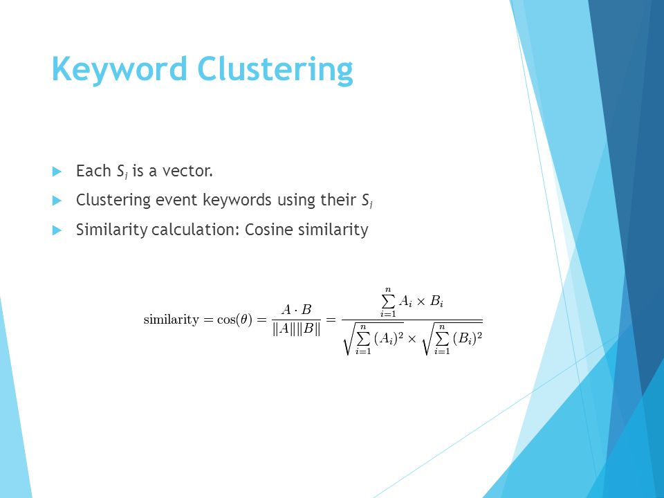 Keyword Clustering  Each S i is a vector.
