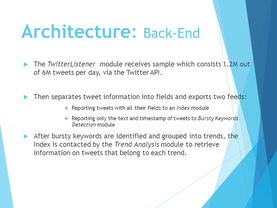 Architecture: Back-End  The TwitterListener module receives sample which consists 1.2M out of 6M tweets per day, via the Twitter API.
