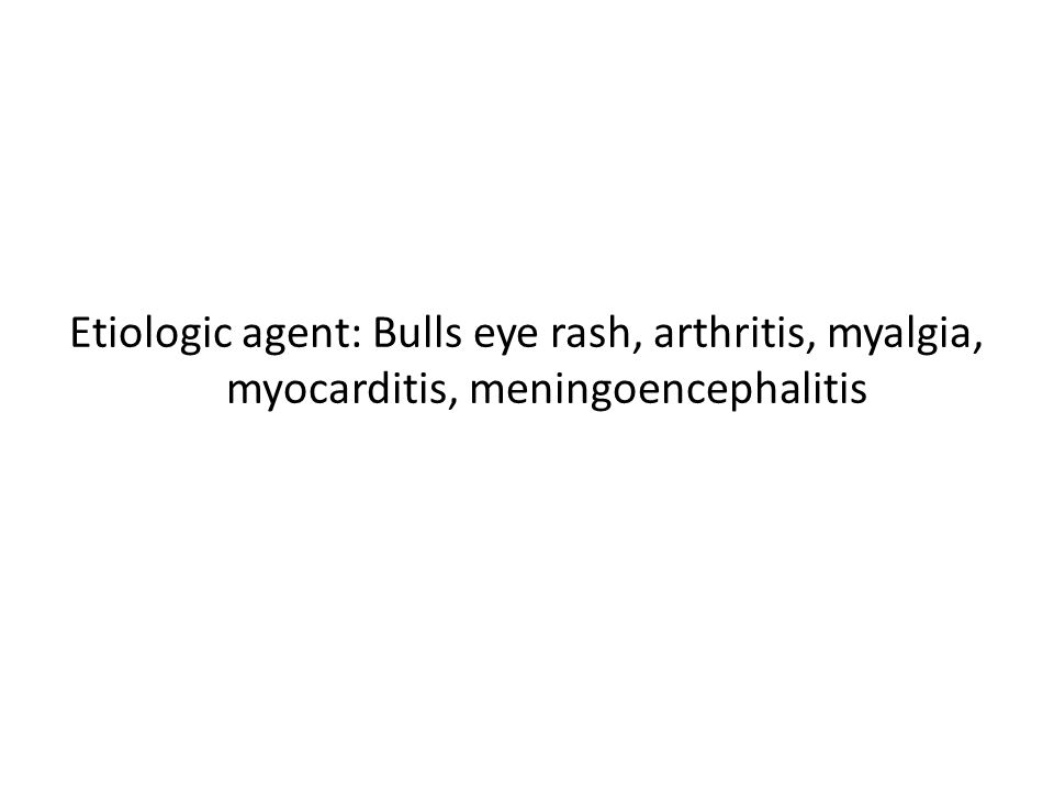Etiologic agent: Bulls eye rash, arthritis, myalgia, myocarditis, meningoencephalitis