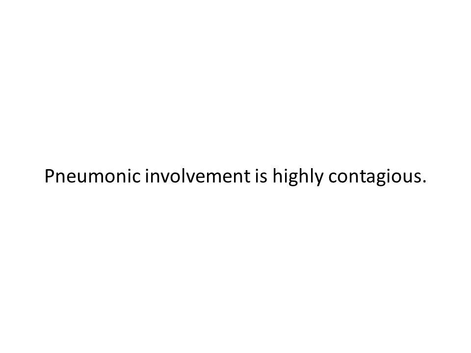 Pneumonic involvement is highly contagious.