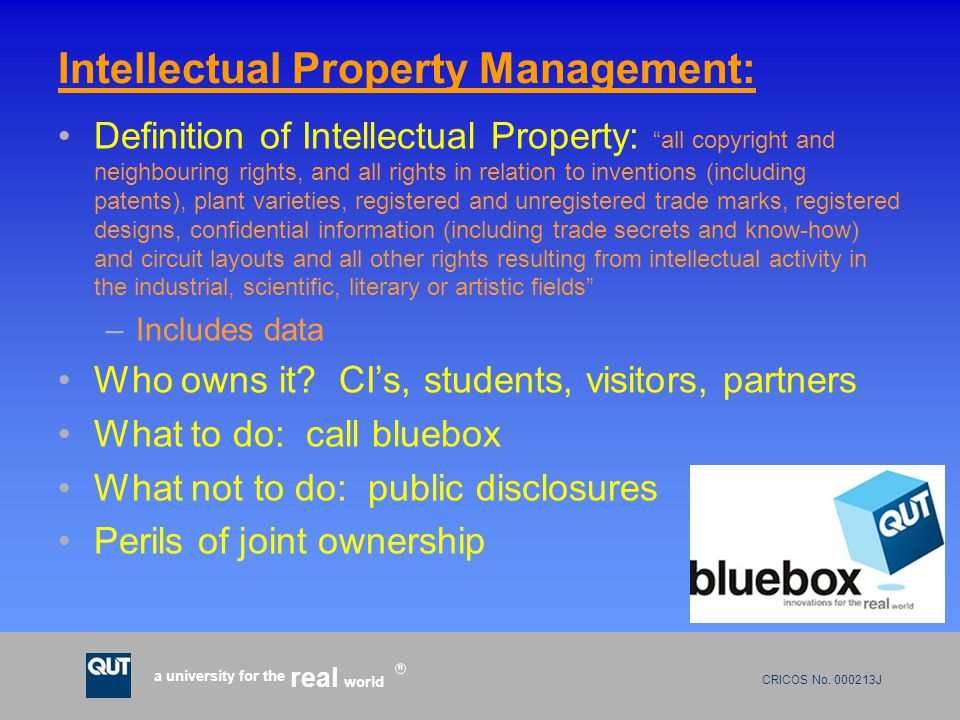 "CRICOS No. 000213J a university for the world real R Intellectual Property Management: Definition of Intellectual Property: ""all copyright and neighbo"
