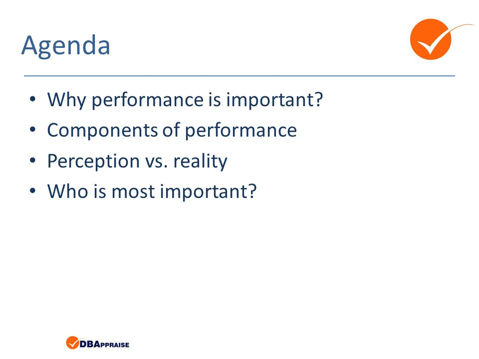 Agenda Why performance is important. Components of performance Perception vs.