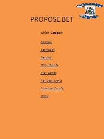 Which Category PROPOSE BET Football Basketball Baseball Other Sports Play Games Political Events Financial Events Other