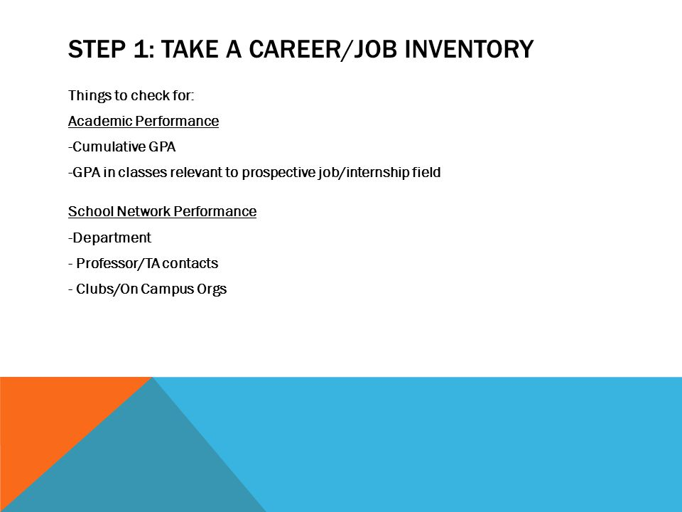 STEP 1: TAKE A CAREER/JOB INVENTORY Things to check for: Academic Performance -Cumulative GPA -GPA in classes relevant to prospective job/internship field School Network Performance -Department - Professor/TA contacts - Clubs/On Campus Orgs