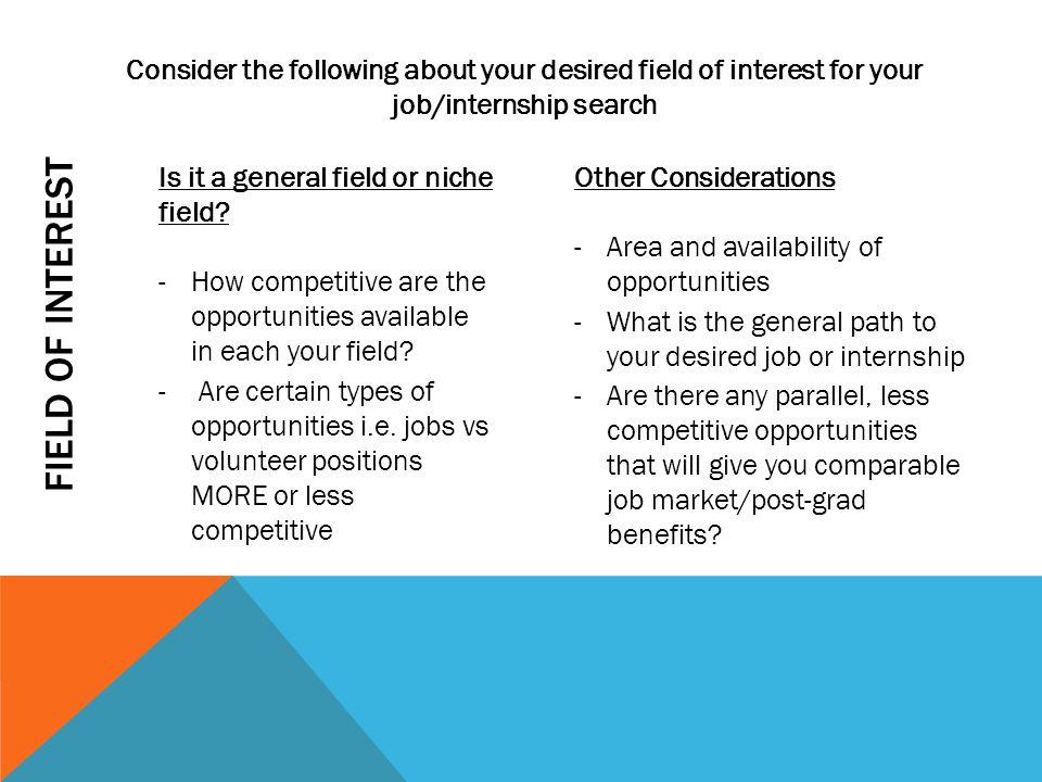 FIELD OF INTEREST Is it a general field or niche field.