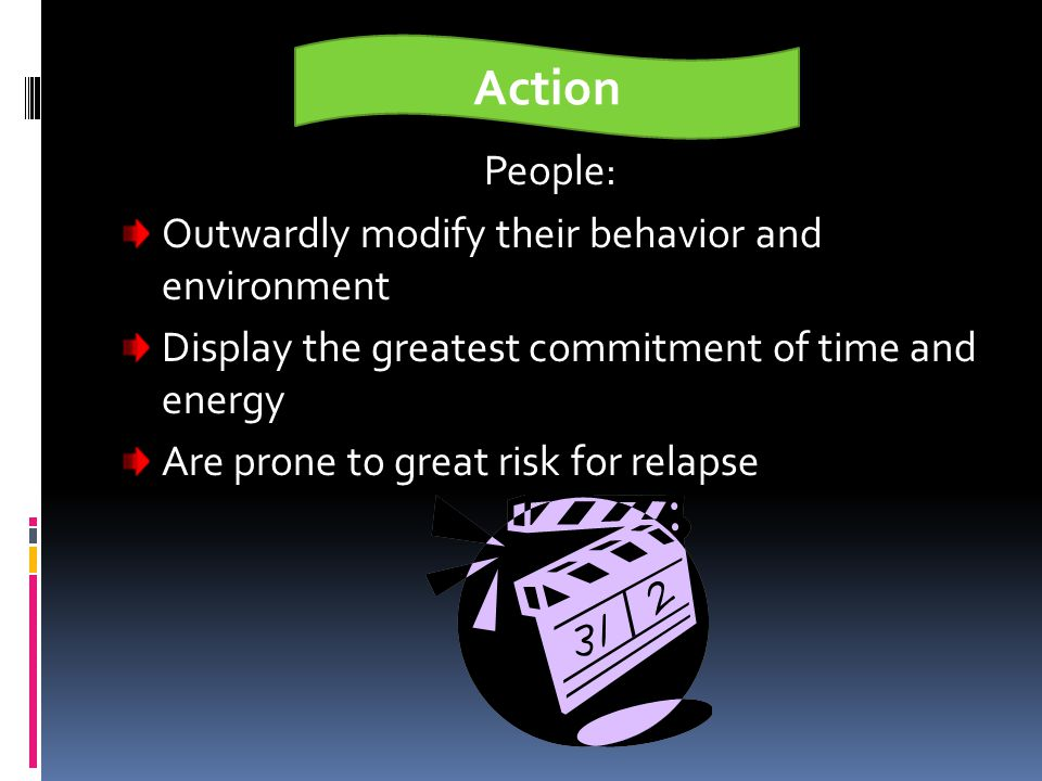 Preparation People: Plan to take action within a month Began to make small changes in behavior Engage in new healthier behavior not consistently Creat