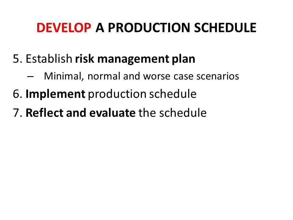 DEVELOP A PRODUCTION SCHEDULE 5. Establish risk management plan – Minimal, normal and worse case scenarios 6. Implement production schedule 7. Reflect