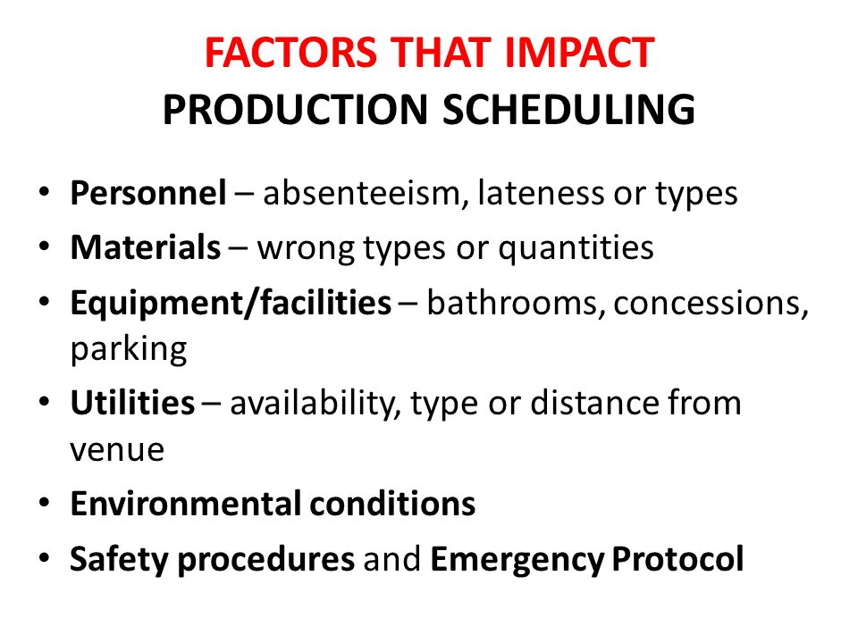 FACTORS THAT IMPACT PRODUCTION SCHEDULING Personnel – absenteeism, lateness or types Materials – wrong types or quantities Equipment/facilities – bathrooms, concessions, parking Utilities – availability, type or distance from venue Environmental conditions Safety procedures and Emergency Protocol