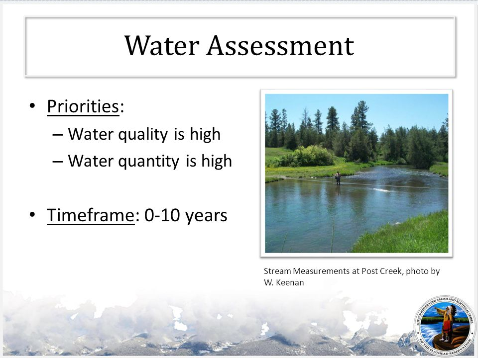Water Assessment Priorities: – Water quality is high – Water quantity is high Timeframe: 0-10 years Stream Measurements at Post Creek, photo by W.