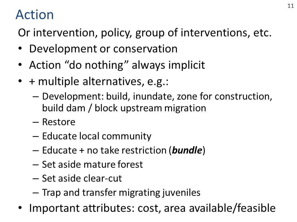 "11 Or intervention, policy, group of interventions, etc. Development or conservation Action ""do nothing"" always implicit + multiple alternatives, e.g."