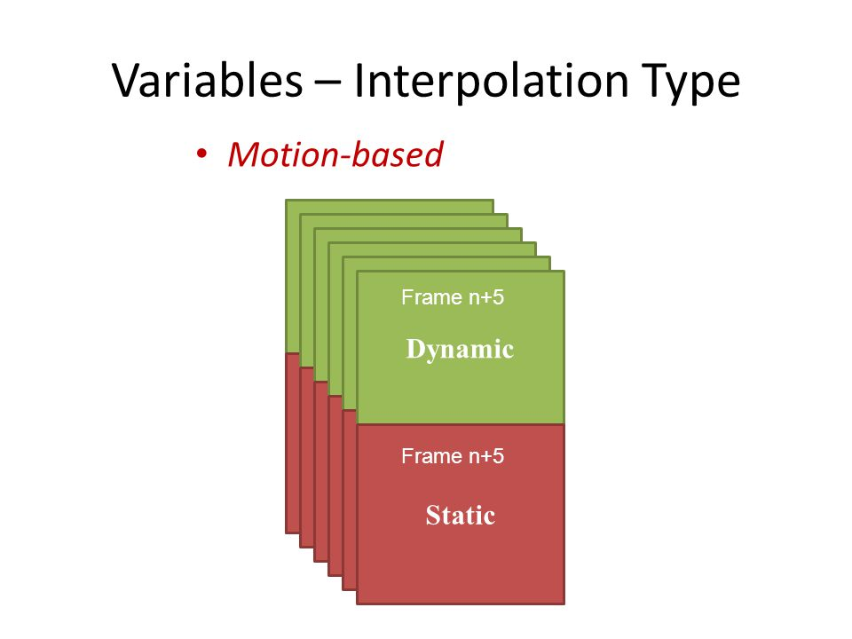 T(x dyn, ,  o) Variables – Interpolation Type Motion-based T(x sta, ,  o) Dynamic Static Frame n+5