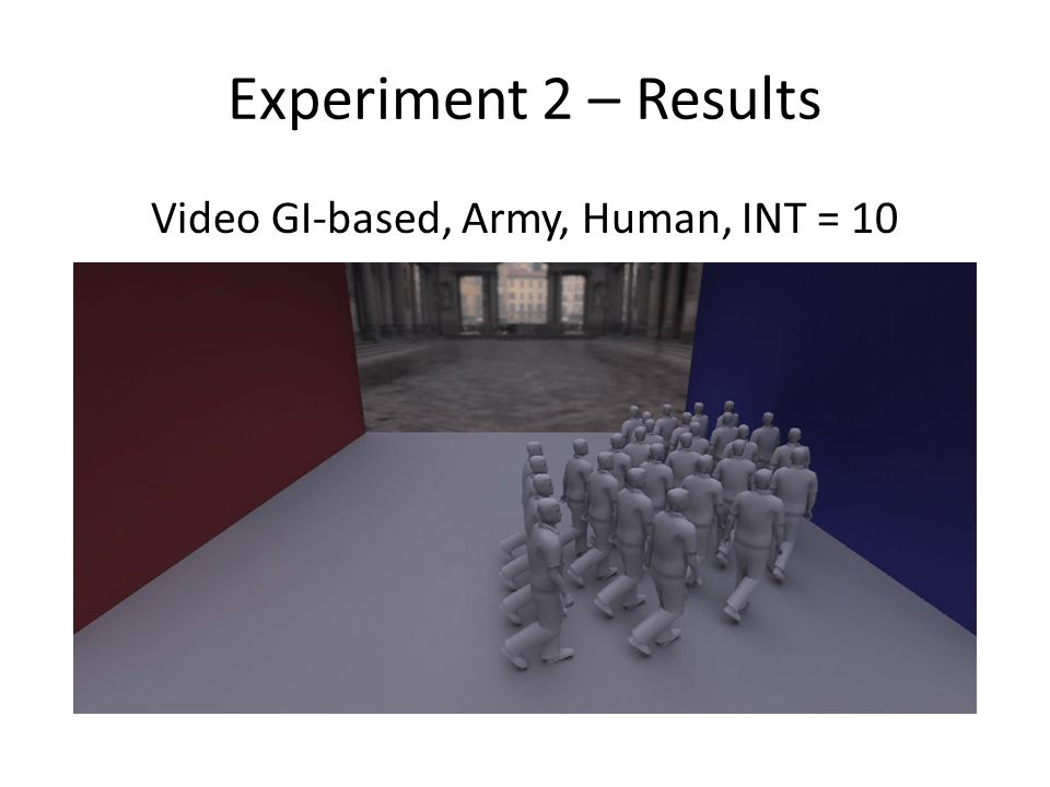 Experiment 2 – Results Video GI-based, Army, Human, INT = 10