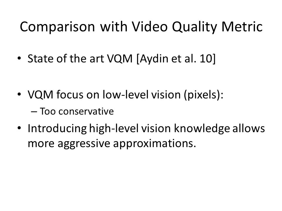 Comparison with Video Quality Metric State of the art VQM [Aydin et al. 10] VQM focus on low-level vision (pixels): – Too conservative Introducing hig