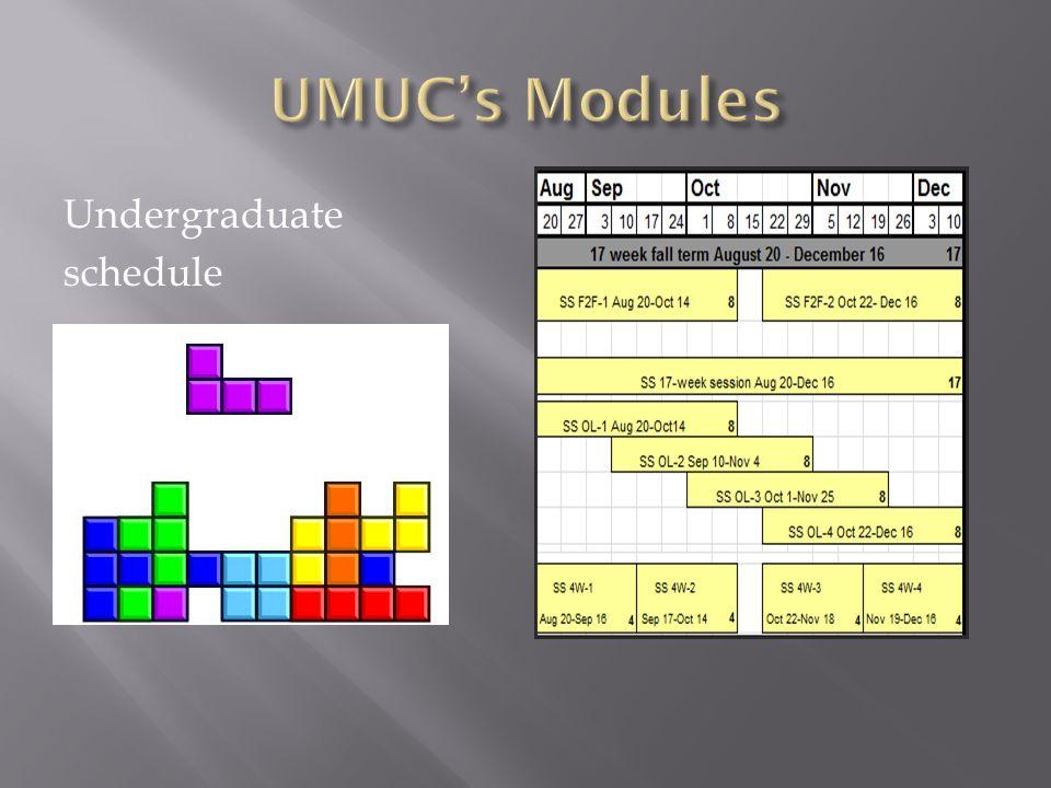 Undergraduate schedule