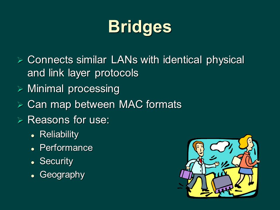 Bridges  Connects similar LANs with identical physical and link layer protocols  Minimal processing  Can map between MAC formats  Reasons for use: Reliability Reliability Performance Performance Security Security Geography Geography