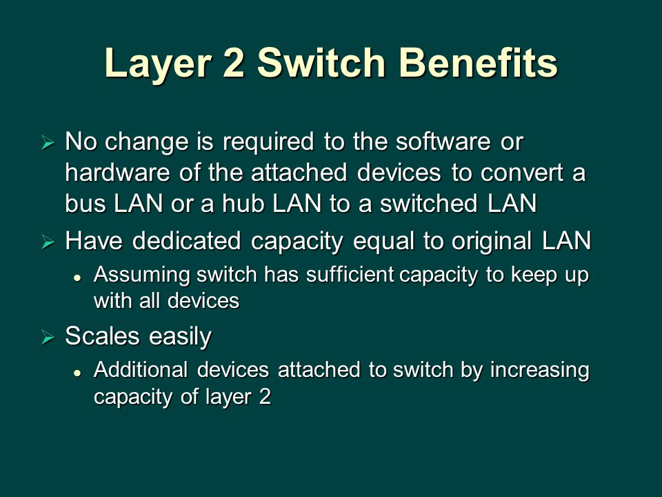 Layer 2 Switch Benefits  No change is required to the software or hardware of the attached devices to convert a bus LAN or a hub LAN to a switched LAN  Have dedicated capacity equal to original LAN Assuming switch has sufficient capacity to keep up with all devices Assuming switch has sufficient capacity to keep up with all devices  Scales easily Additional devices attached to switch by increasing capacity of layer 2 Additional devices attached to switch by increasing capacity of layer 2