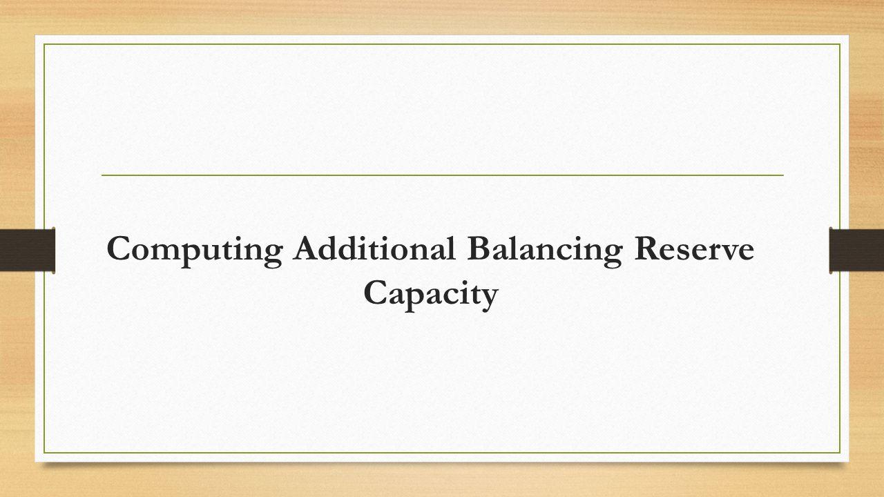 Computing Additional Balancing Reserve Capacity