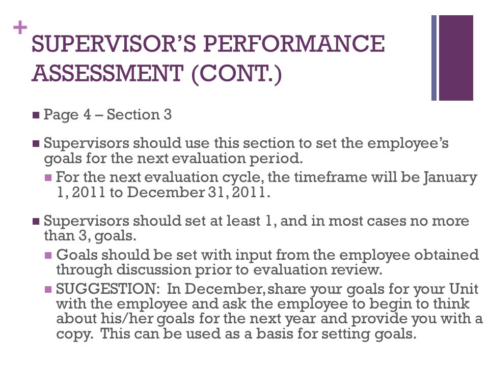 + SUPERVISOR'S PERFORMANCE ASSESSMENT (CONT.) Page 4 – Section 3 Supervisors should use this section to set the employee's goals for the next evaluati
