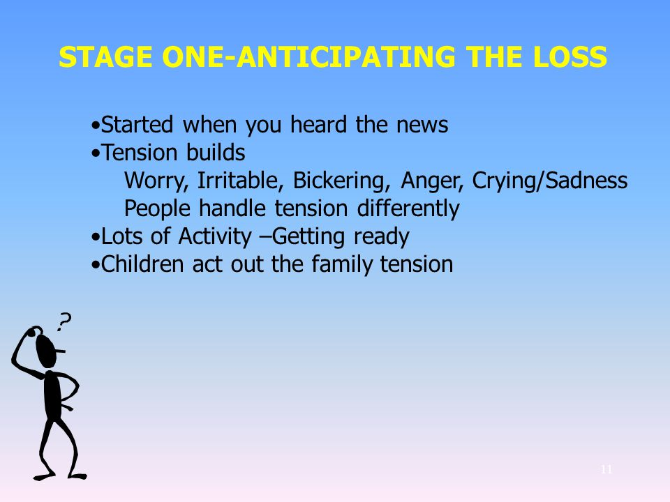 11 STAGE ONE-ANTICIPATING THE LOSS Started when you heard the news Tension builds Worry, Irritable, Bickering, Anger, Crying/Sadness People handle tension differently Lots of Activity –Getting ready Children act out the family tension