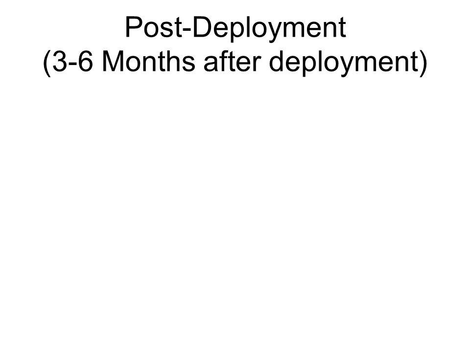 Post-Deployment (3-6 Months after deployment)