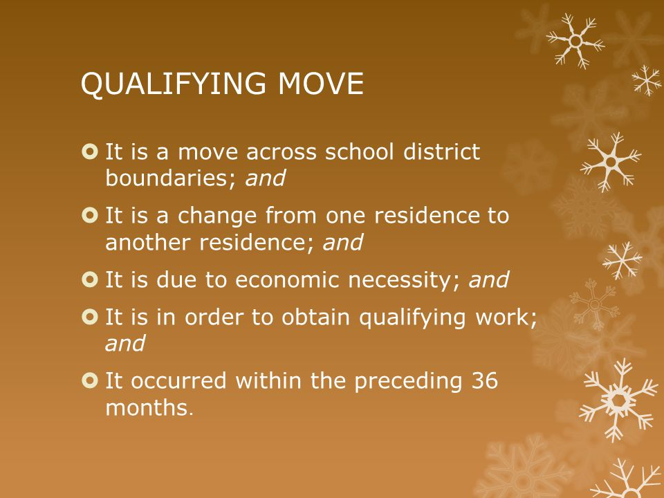 QUALIFYING MOVE  It is a move across school district boundaries; and  It is a change from one residence to another residence; and  It is due to eco
