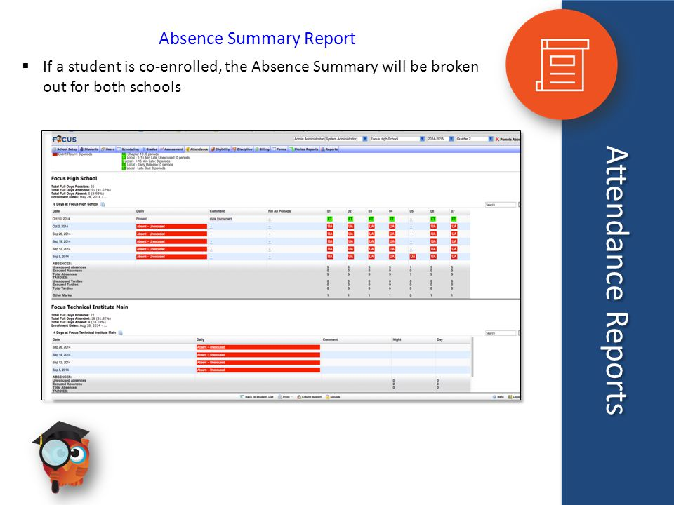 Attendance Reports Absence Summary Report  If a student is co-enrolled, the Absence Summary will be broken out for both schools