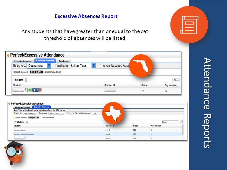Attendance Reports Excessive Absences Report Any students that have greater than or equal to the set threshold of absences will be listed