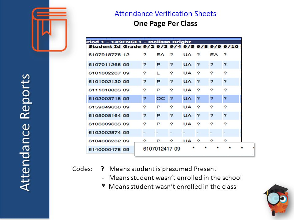 Attendance Reports Attendance Verification Sheets One Page Per Class Codes: ? Means student is presumed Present - Means student wasn't enrolled in the