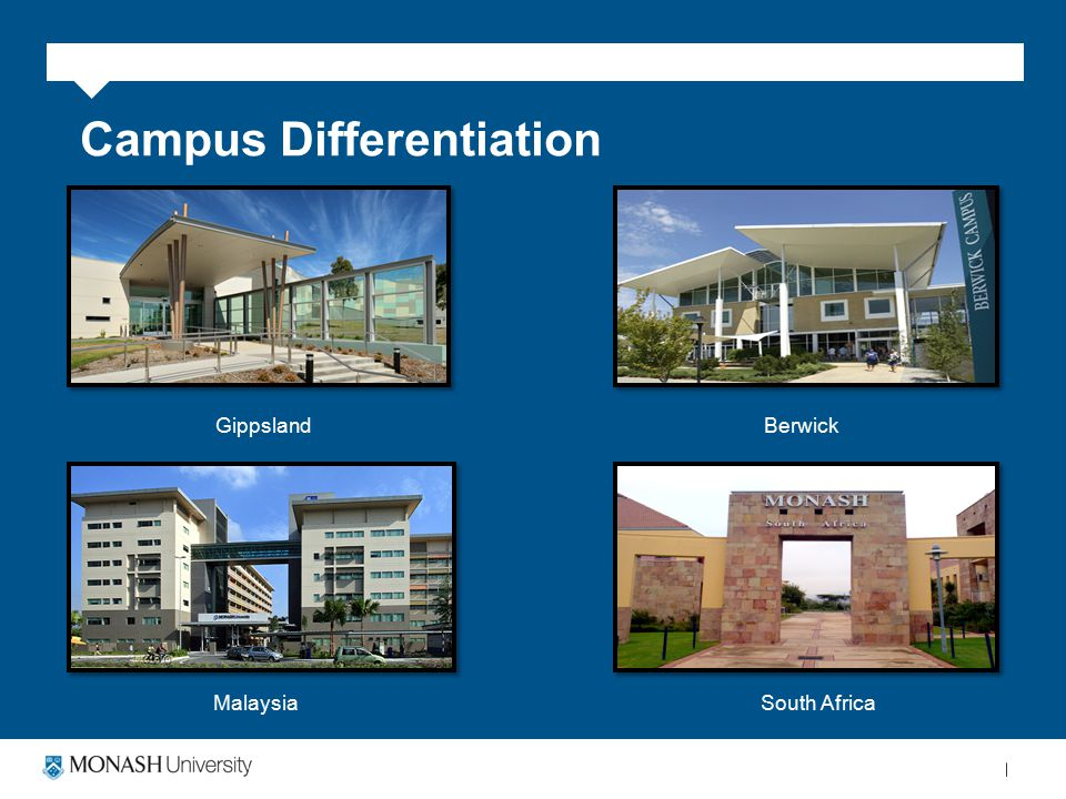 Campus Differentiation GippslandBerwick MalaysiaSouth Africa