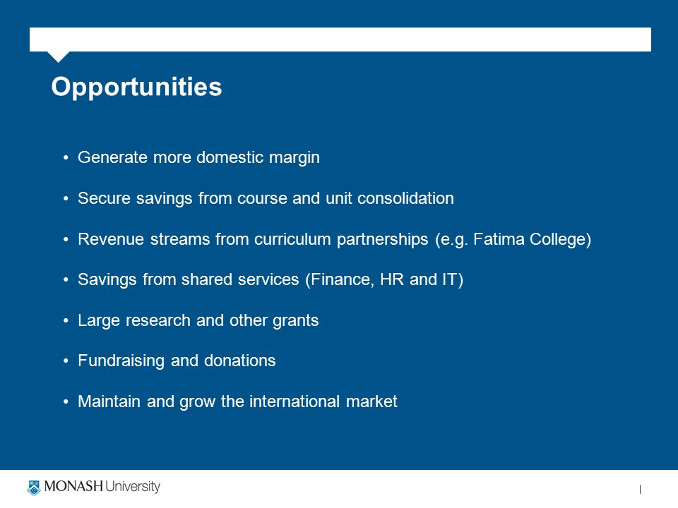Opportunities Generate more domestic margin Secure savings from course and unit consolidation Revenue streams from curriculum partnerships (e.g.