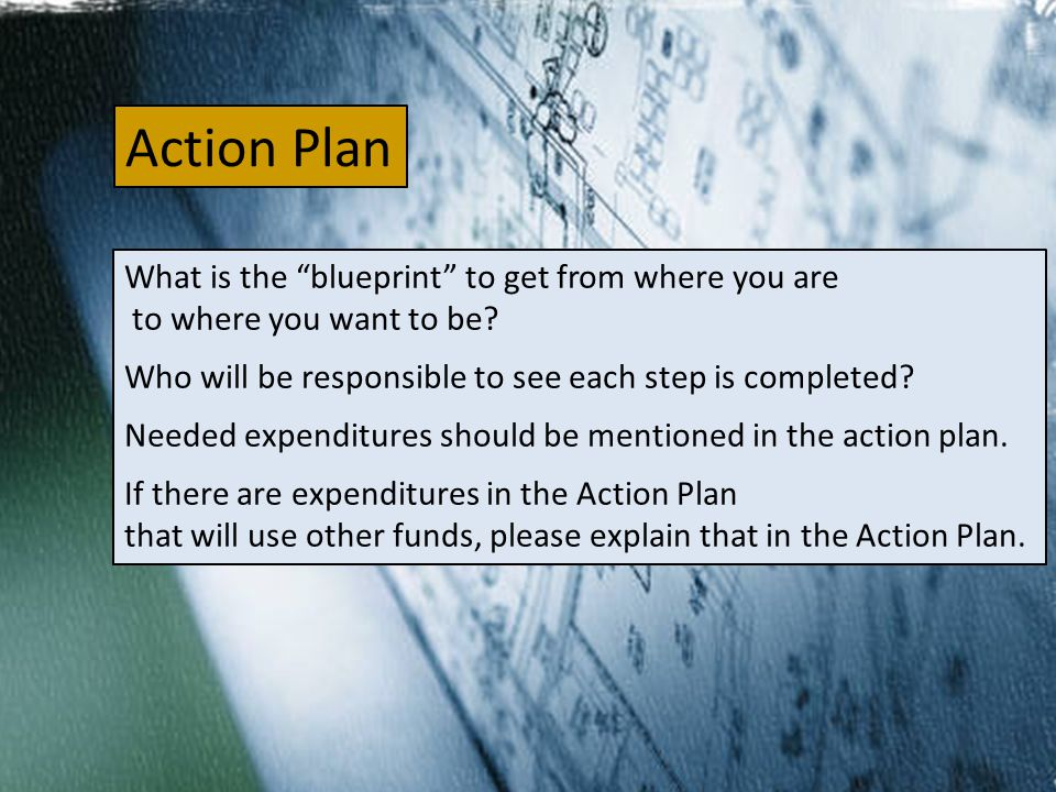Action Plan What is the blueprint to get from where you are to where you want to be.
