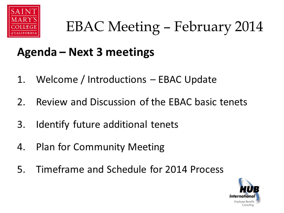 EBAC Meeting – February 2014 2014 EBAC Initiatives – Thank you for your participation .