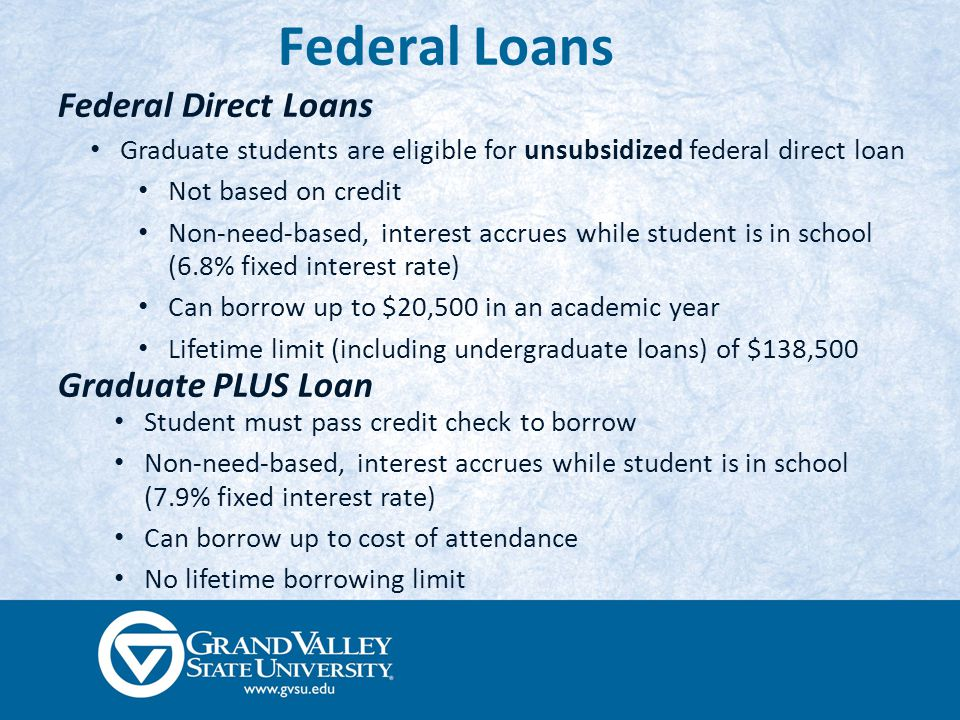 Federal Loans Federal Direct Loans Student must pass credit check to borrow Non-need-based, interest accrues while student is in school (7.9% fixed interest rate) Can borrow up to cost of attendance No lifetime borrowing limit Graduate PLUS Loan Graduate students are eligible for unsubsidized federal direct loan Not based on credit Non-need-based, interest accrues while student is in school (6.8% fixed interest rate) Can borrow up to $20,500 in an academic year Lifetime limit (including undergraduate loans) of $138,500