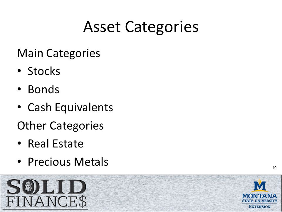 Asset Categories Main Categories Stocks Bonds Cash Equivalents Other Categories Real Estate Precious Metals 10