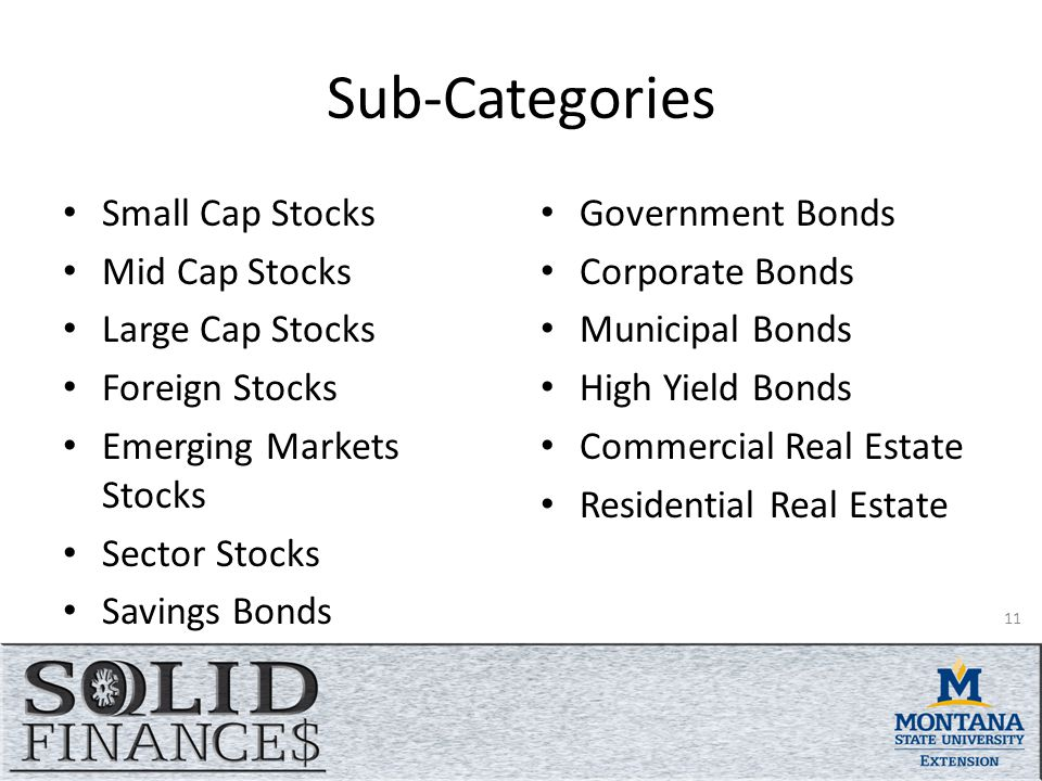 Sub-Categories Small Cap Stocks Mid Cap Stocks Large Cap Stocks Foreign Stocks Emerging Markets Stocks Sector Stocks Savings Bonds Government Bonds Corporate Bonds Municipal Bonds High Yield Bonds Commercial Real Estate Residential Real Estate 11