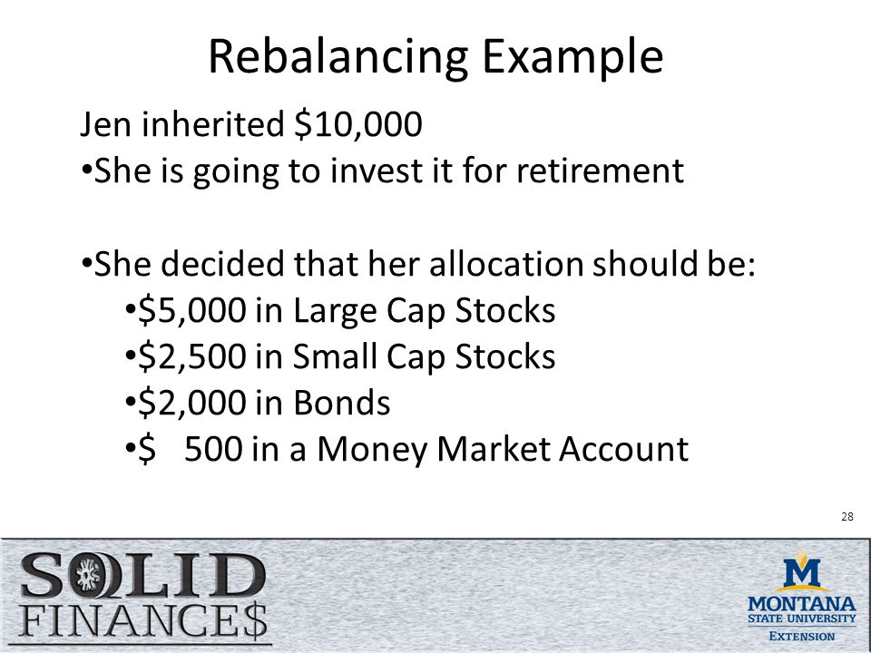 Rebalancing Example Jen inherited $10,000 She is going to invest it for retirement She decided that her allocation should be: $5,000 in Large Cap Stocks $2,500 in Small Cap Stocks $2,000 in Bonds $ 500 in a Money Market Account 28